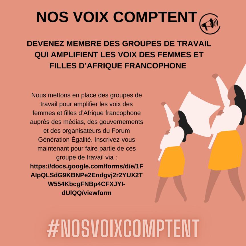 Devenez membre des groupes de travail pour amplifier les voix des filles et femmes d'Afriquefrancophone