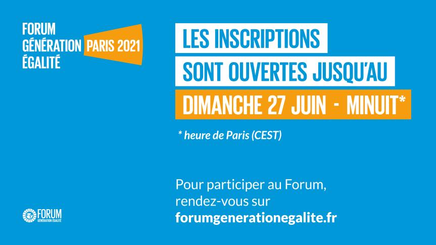 Inscrivez-vous dès maintenant pour le Forum Génération Égalité deParis